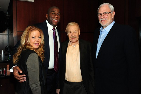 Jeanie Buss, Earvin Magic Johnson, the late Dr. Jerry Buss, and Phil Jackson Photo: Los Angeles Lakers / NBA Photos