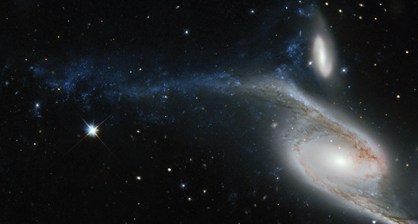 The Hubble Space Telescope showing a galaxy known as NGC 6872 in the constellation of Pavo. Pavo lies roughly 300 million light-years away from Earth