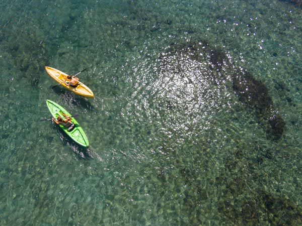 Kayaking on the clear water of Costa Rica