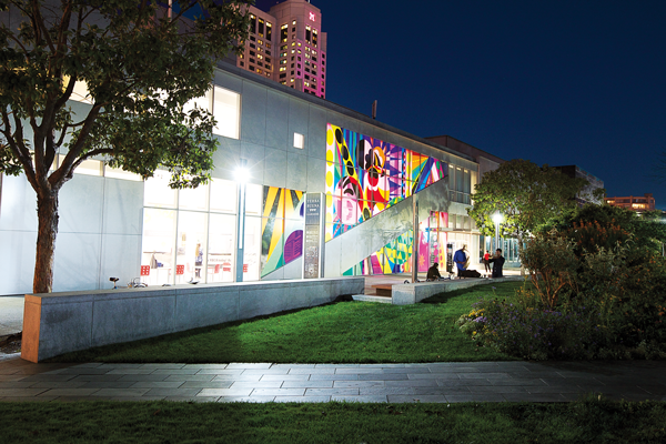 The Yerba Buena Center for the Arts lights up at night