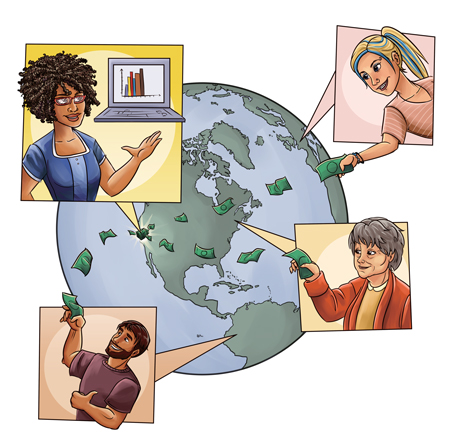 The Equity Crowdfunding Model: Smaller sums of money originating from multiple sources, prospectively around the globe (Illustration by Jamie Ludovise)