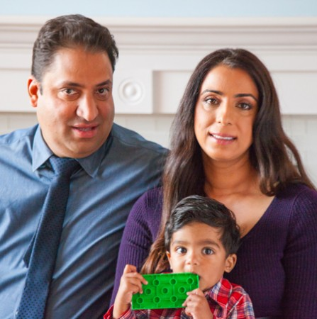 Nick Desai, his wife Dr. Renee Dua, and their son